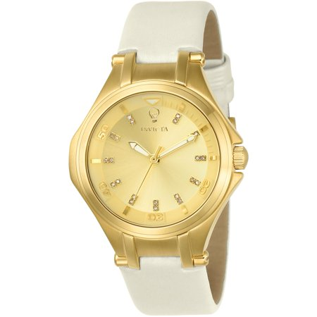 Invicta Womens Gabrielle Union White Leather Band Steel Case Quartz Gold Tone Dial Analog Watch 23251