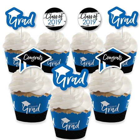 Blue Grad - Best is Yet to Come - Cupcake Decoration - 2019 Royal Blue Graduation Party Cupcake Wrappers and Treat Picks Kit - Set of