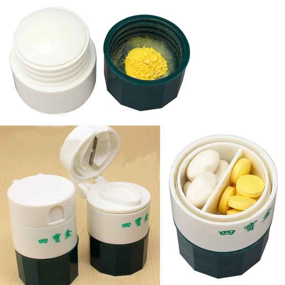 Girl12Queen Practical Pill Tablet Medicine Cutter Grinder Crusher Storage Organizer Box Case
