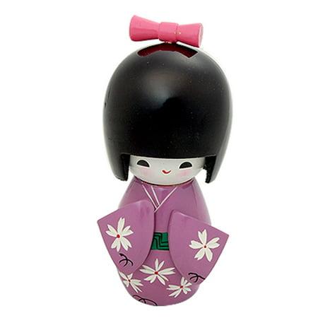 Unique Bargains Desk Decor Purple Kimono Girl Ornament Doll Wooden Toy