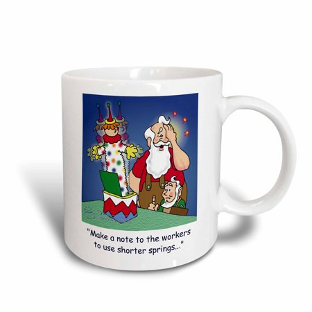3dRose Larry Miller Cartoon about Santa Working on Toys for Christmas, Ceramic Mug, 11-ounce