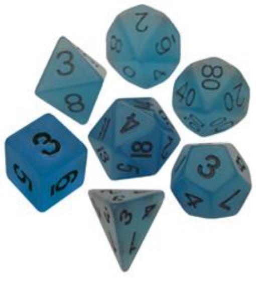 Polyhedral 7 Die Set Resin Dice: Glow Blue with Black Numbers (Glow in Dark)