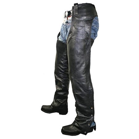 Xelement Xelement B7555 Classic Men's Black Braided Elastic Fit Leather Chaps Black - Mens Classic Chaps