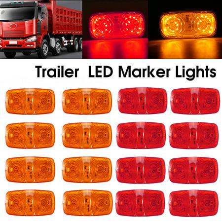 1Pcs 12V LED Side Marker Clearance Light Double Bullseye 10
