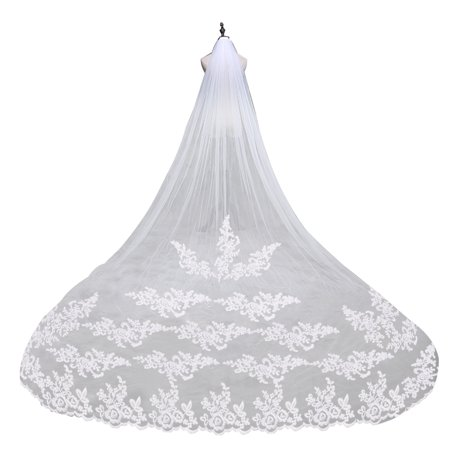 Embroidery Lace Edge Bridal Wedding Veil Mantilla with Comb (White)