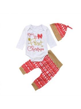 3Pcs XMAS Infant Baby Boy Girl Clothes Romper Jumpsuit Bodysuit+Pants Outfit Set