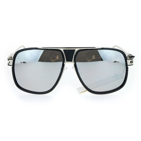SA106 Luxury Mens Mobster Aviator Racer Designer Fashion Sunglasses Silver Black Mirror