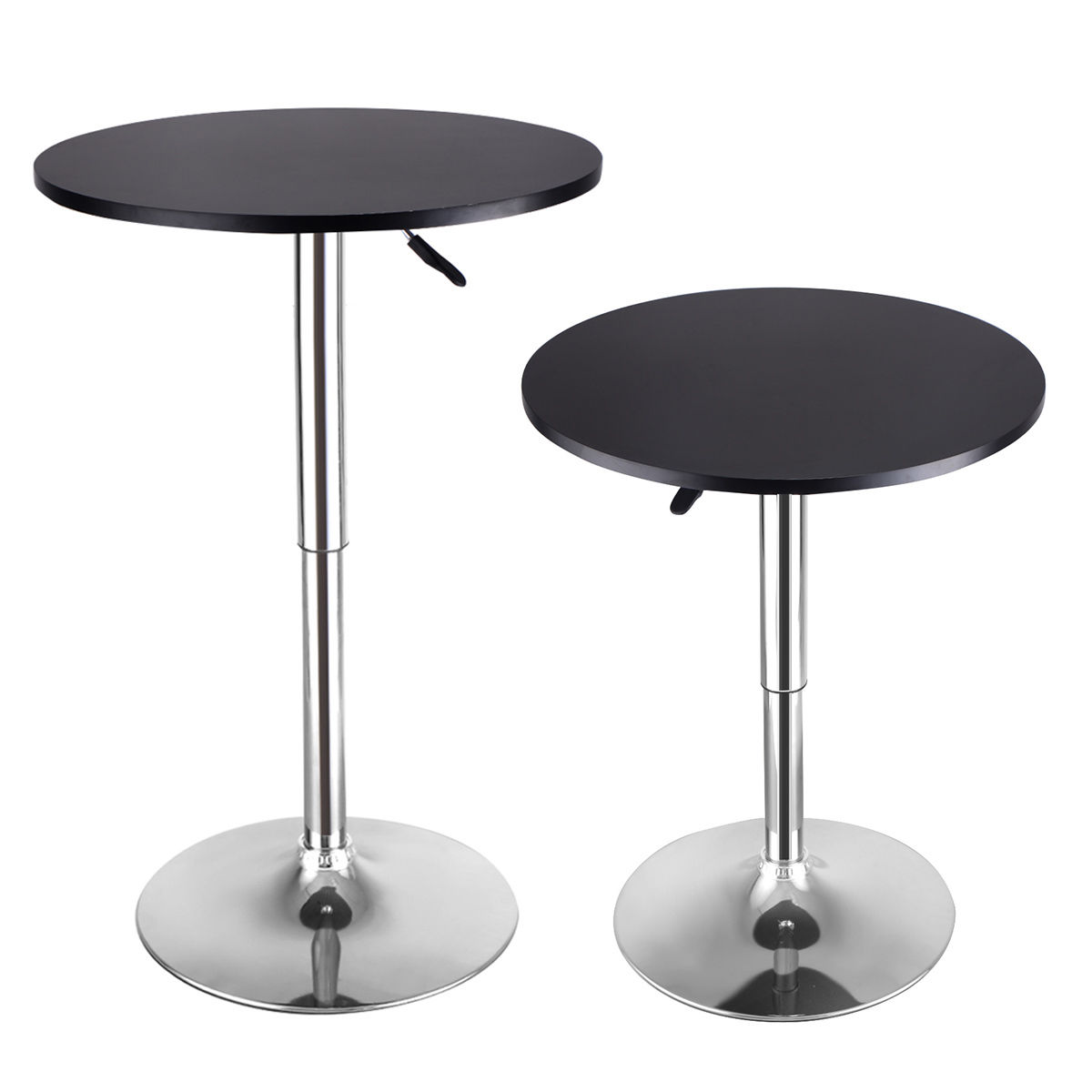 Costway Set of 2 Modern Round Pub Table Adjustable Bistro Pub Counter Wood Top Swivel by Costway