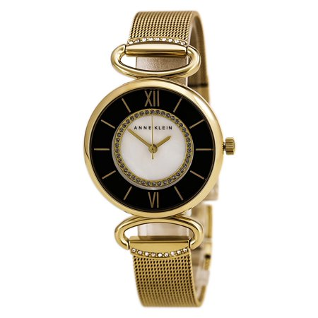 2150MPGB Women's Crystal Accented MOP and Black Dial Yellow Gold Steel Mesh Bracelet - Womens Black Mop Dial