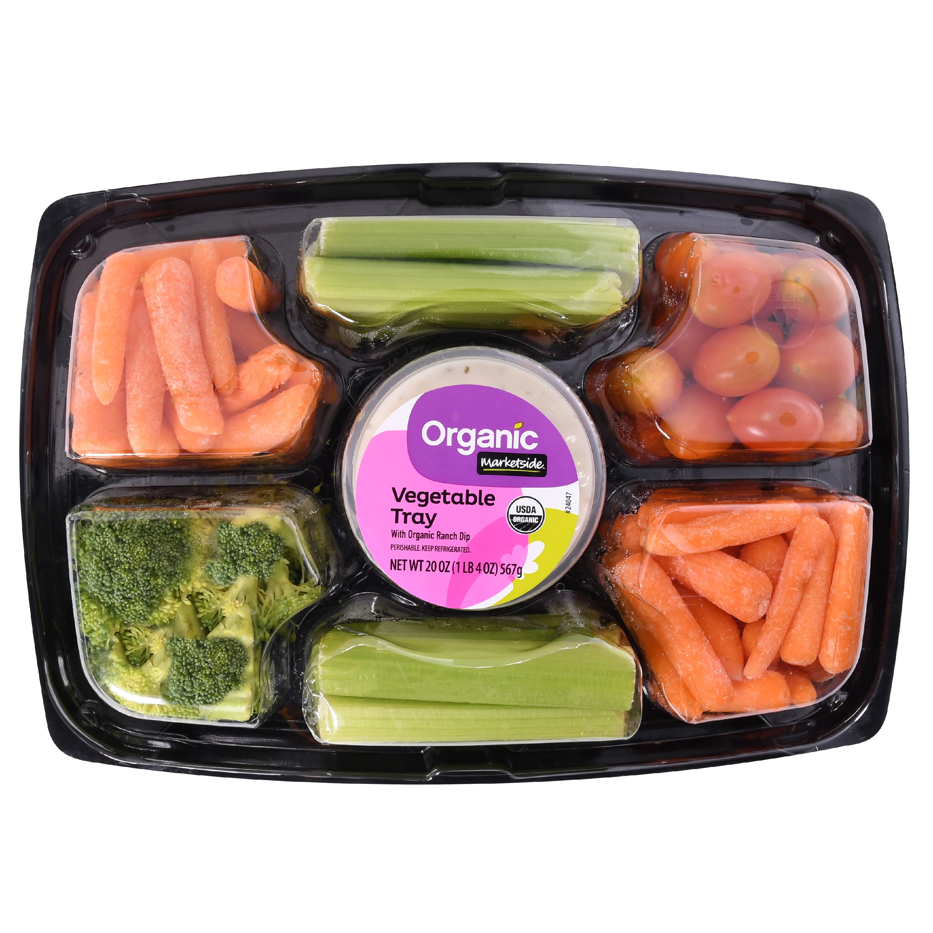 Marketside Vegetable Tray with Organic Ranch Dip, 20 oz
