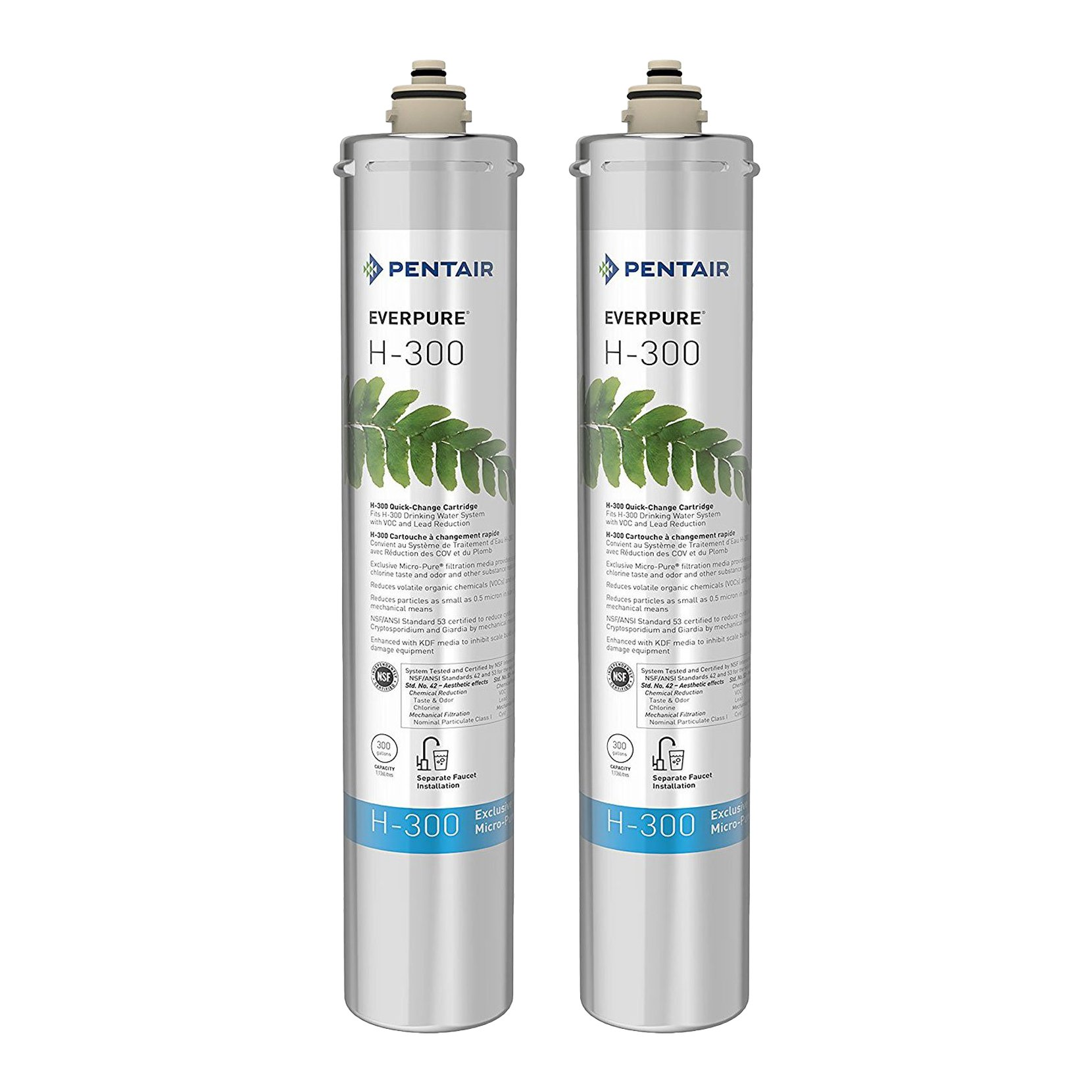 Pentair Everpure H-300 Undersink Water Filter Replacement Cartridge (2 Pack)