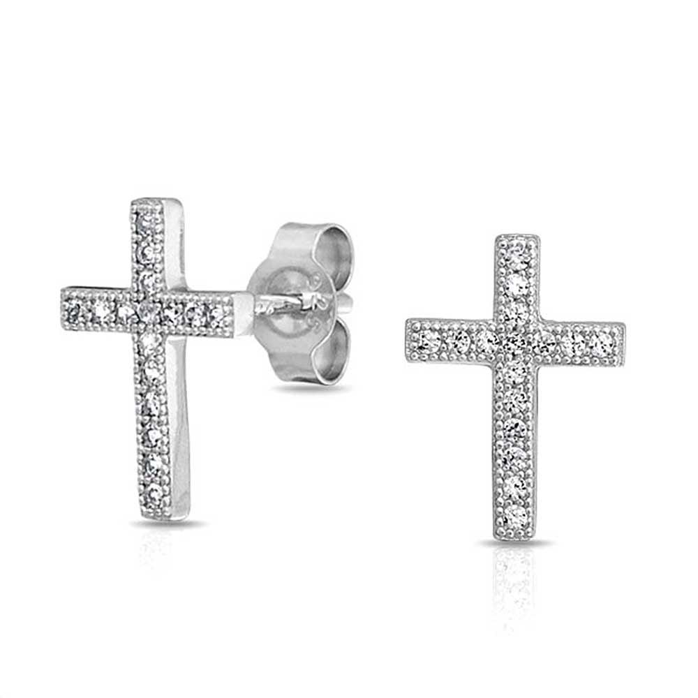 Micro Pave Cubic Zirconia Modern Cross Stud Earrings Sterling Silver