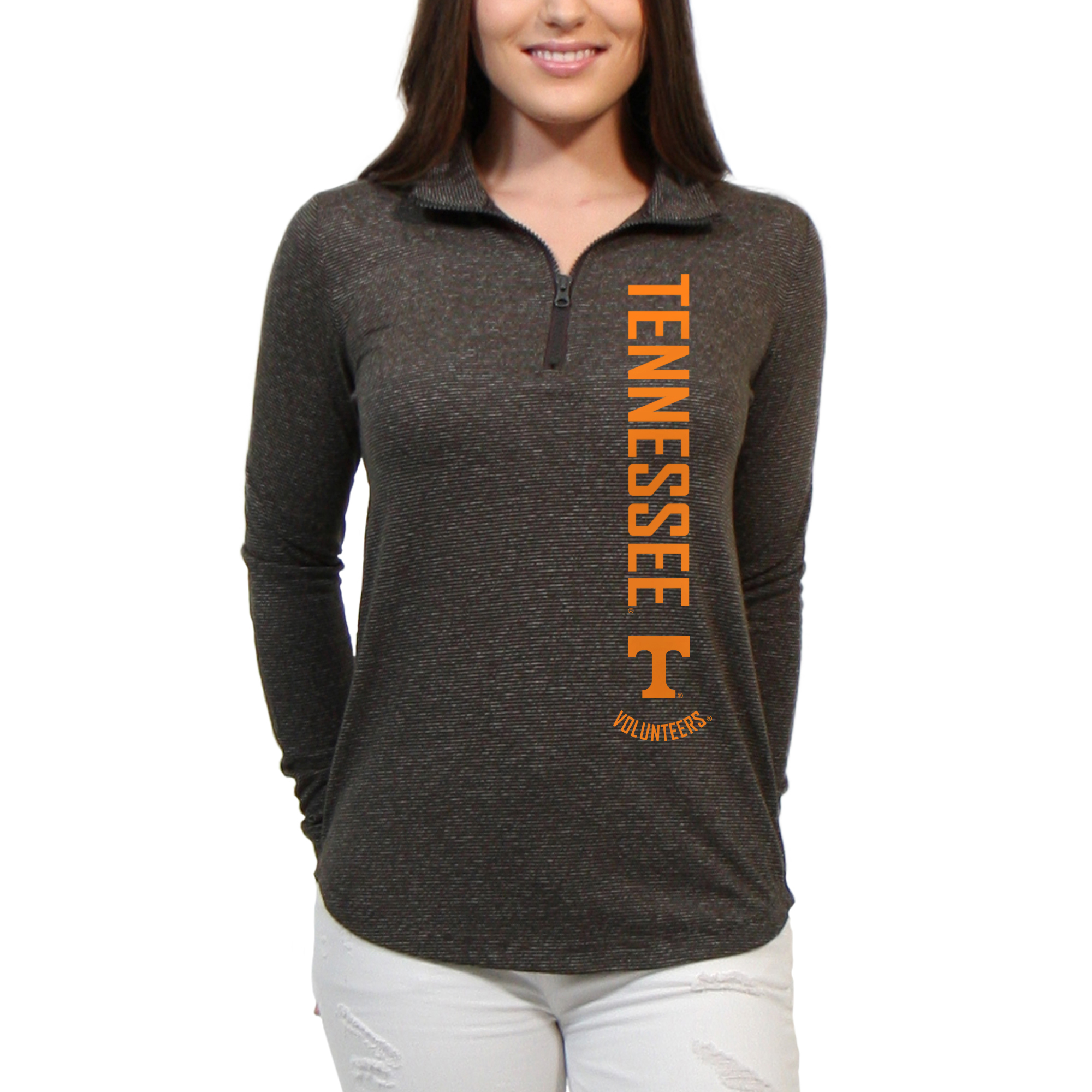 Tennessee Volunteers Cascade Text Women's/Juniors Team Long Sleeve Half Zip Shirt