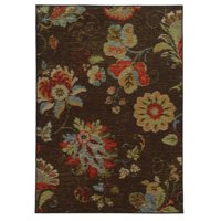 "Style Haven Loop Pile Ikat Floral Brown/ Multi Nylon Rug (6'7 x 9'3) - 6'7"" x 9'3"""