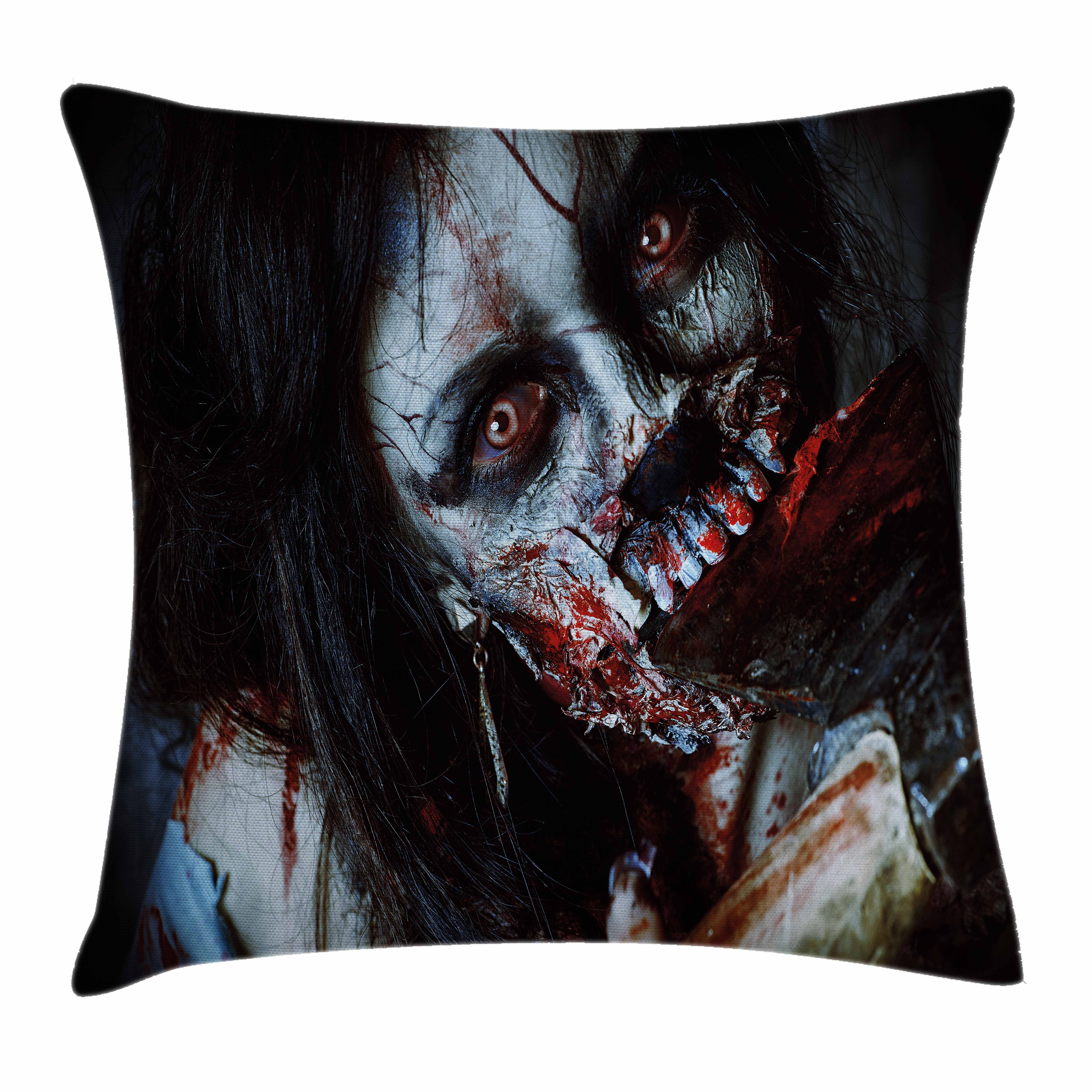 Zombie Decor Throw Pillow Cushion Cover, Scary Dead Woman with Bloody Axe Evil Fantasy Gothic Mystery Halloween Picture, Decorative Square Accent Pillow Case, 16 X 16 Inches, Multicolor, by Ambesonne