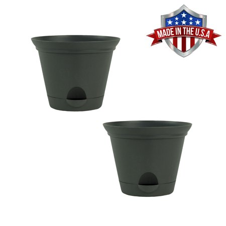 2 Pack of 7 Inch Flat Gray Plastic Self Watering Flare Flower Pot or Garden Planter