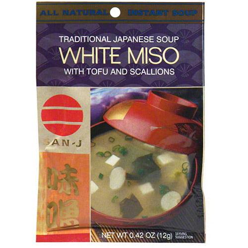 San-J White Miso Soup Mix, 0.42 oz, (Pack of 36)