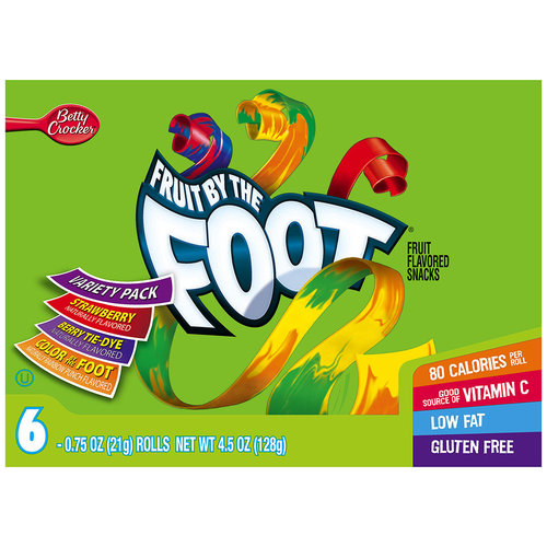 Betty Crocker? Fruit by the Foot? Strawberry/Berry Tie-Dye?/Color by the Foot? Fruit Flavored Snacks 6-0.75 oz. Rolls