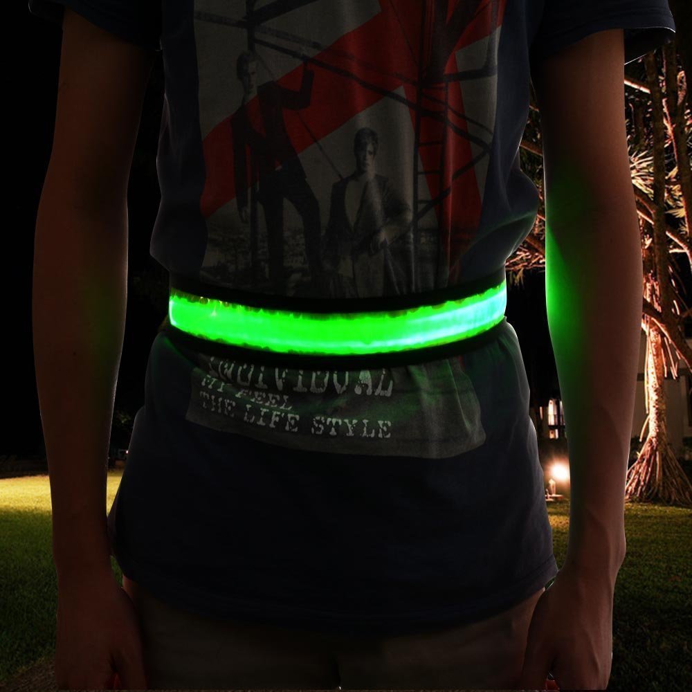 Image LED Reflective Belt USB Rechargeable Reflective Running Gear Safety Lights Green
