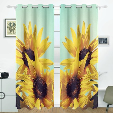 POPCreation Sunflowers Window Curtain Blackout Curtains Darkening Thermal  Blind Curtain for Bedroom Living Room,2 Panel (52Wx84L Inches)