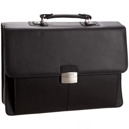 Kenneth Cole Leather Flap-Over Briefcase Messenger Bag Business Case Portfolio Black One Size