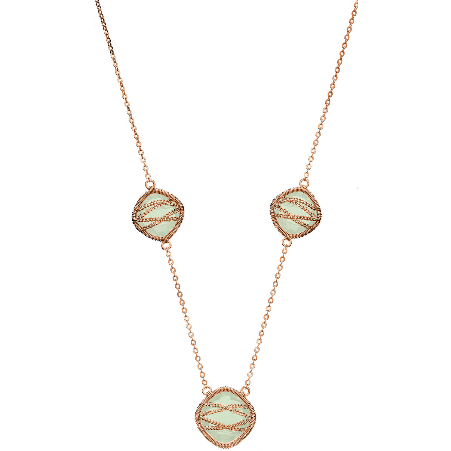 5th & Main Rose Gold over Sterling Silver Hand-Wrapped Triple-Squared Chalcedony Stone Necklace by Generic