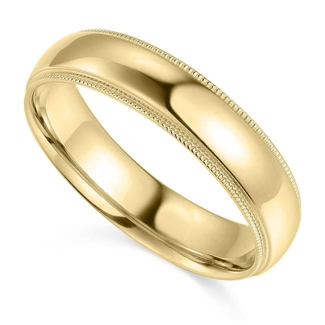 Precious Stars BMC-050-7.5 5 mm 14K Yellow Gold Comfort-fit Milgrain & Polished Wedding Band - Size 7.5 - image 1 de 1