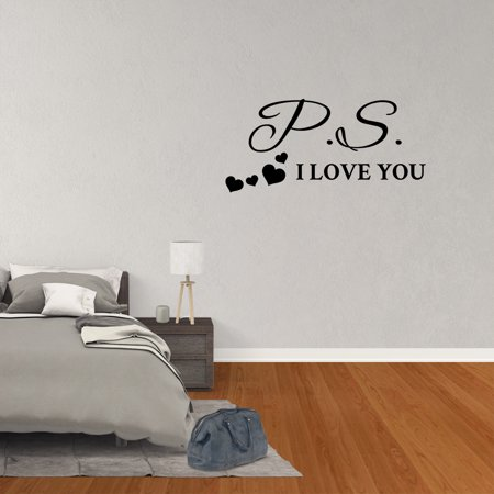 Wall Decal Quote PS I Love You Vinyl Sticker Love Wall Decor Couple Sign Wedding Art - Qute Couple