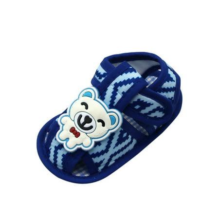 Newborn Baby Boy Girl Summer Cartoon Bear Sandals Soft Sole Prewalker