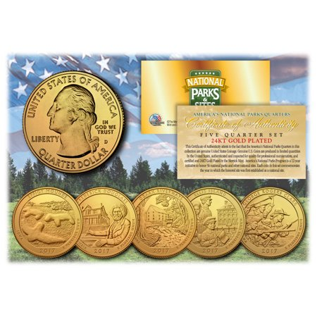 Ocean Park Halloween 2017 Time (2017 America The Beautiful 24K GOLD PLATED Quarters Parks 5-Coin Set)