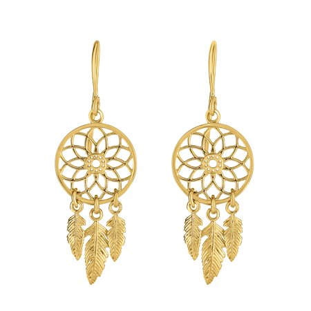 14k Yellow Gold Shiny And Textured Drop Dream Catcher Earrings, Fish Hook Clasp
