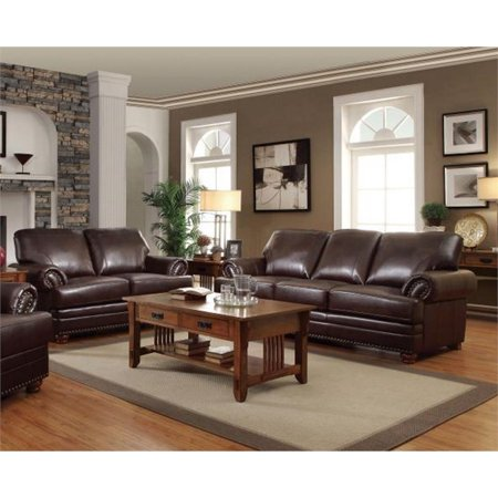 Coaster Colton 2 Piece Leather Sofa Set In Brown