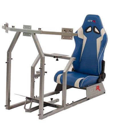 GTR Racing Simulator GTAF-S-S105LBLWHT - GTA-F Model (Silver) Triple or Single Monitor Stand with Blue/White Adjustable Leatherette Seat, Racing Simulator Cockpit gaming chair Single Monitor