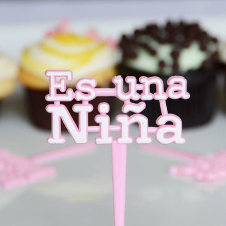 Baby Shower Cupcakes For Girl (12 Pink Es Una Nina Cupcake Picks for Baby Shower Its a)