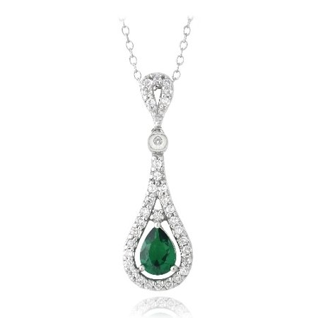 Created Emerald Cross - Sterling Silver Created Emerald & CZ Teardrop Necklace