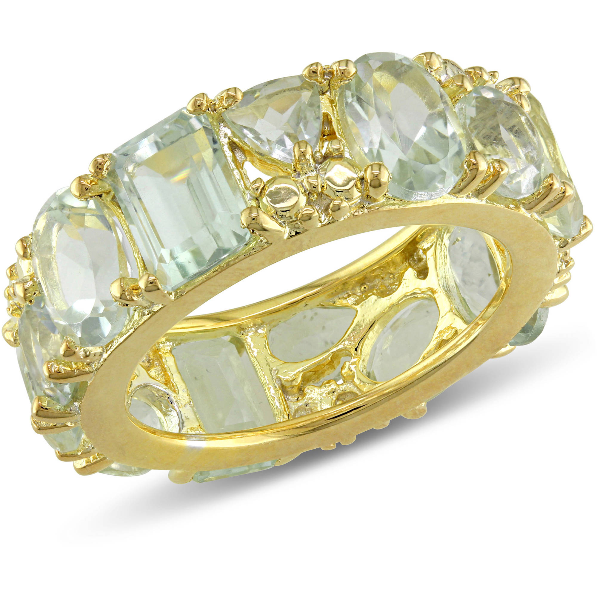 Tangelo 9-1/3 Carat T.G.W. Green Amethyst Yellow Rhodium-Plated Sterling Silver Anniversary Ring