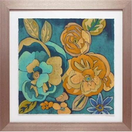 North American Art N1669 28 x 28 in. Trousseau Chintz III Framed Floral Art Print