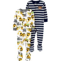 Child of Mine by Carter's Baby Toddler Boy Snug Fit Cotton Footed One Piece Pajamas, 2-Pack
