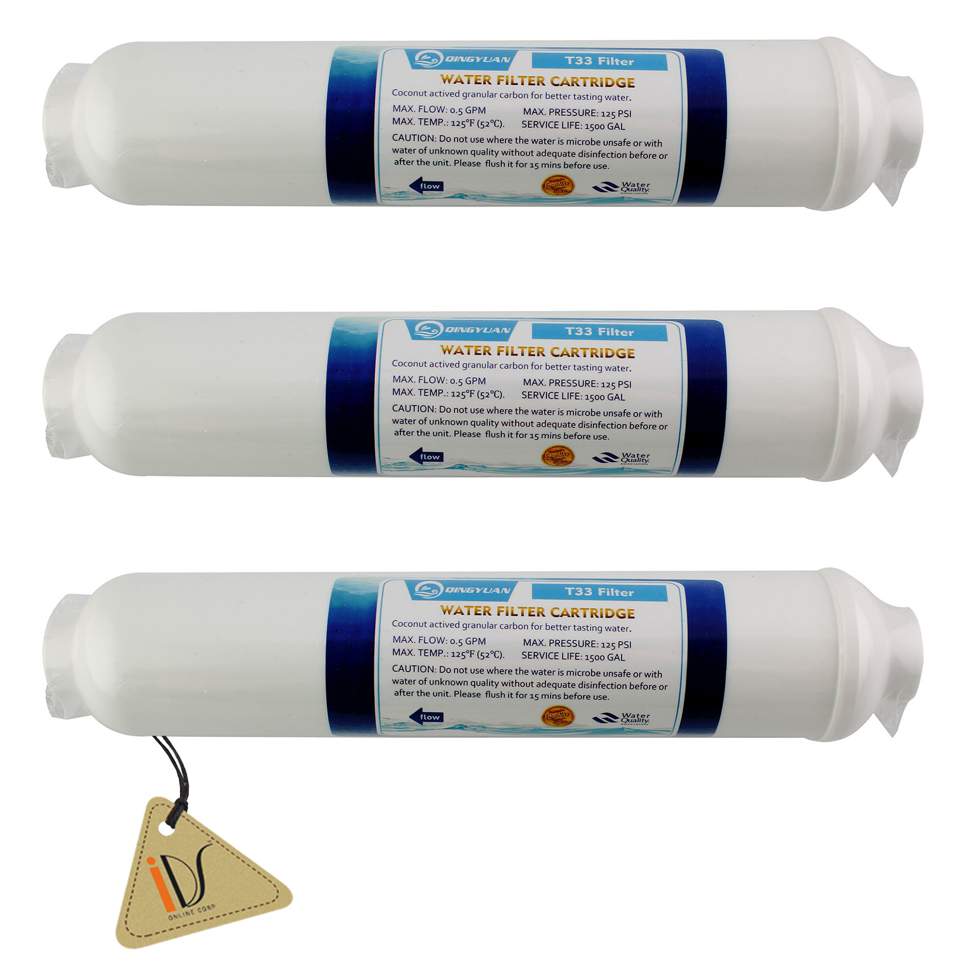 T33 GAC Carbon Inline Reverse Osmosis Cartridge Water Filter for House RO System, 3 Pack