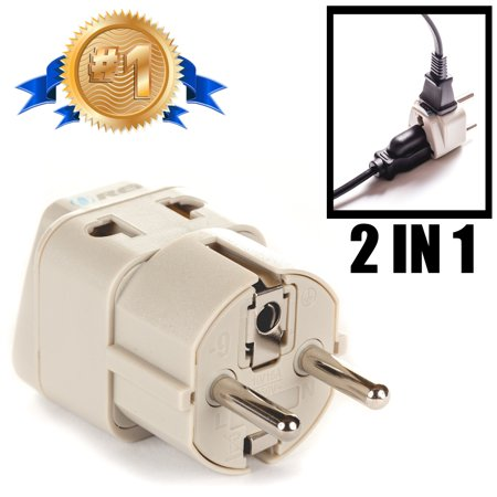 OREI Grounded Universal 2 in 1 Schuko Plug Adapter Type E/F for Germany, France, Europe, Russia & more - High Quality - CE Certified - RoHS Compliant