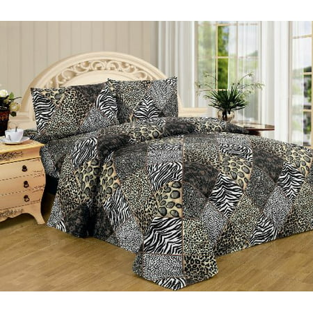 White Black Leopard Zebra Queen Size Sheet Set 4 Pc Safari