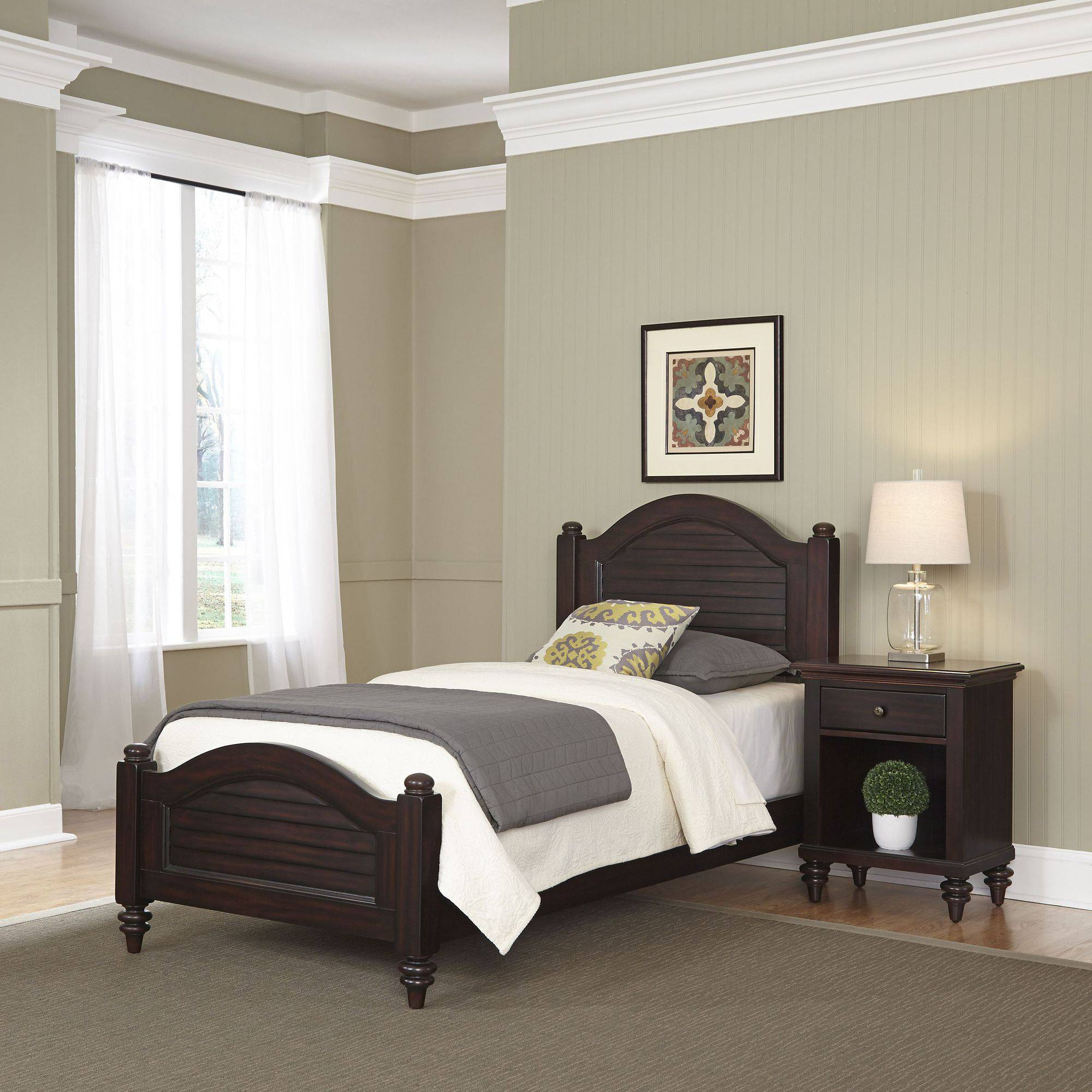 Home Styles Furniture Bermuda Espresso Twin Bed and Night Stand