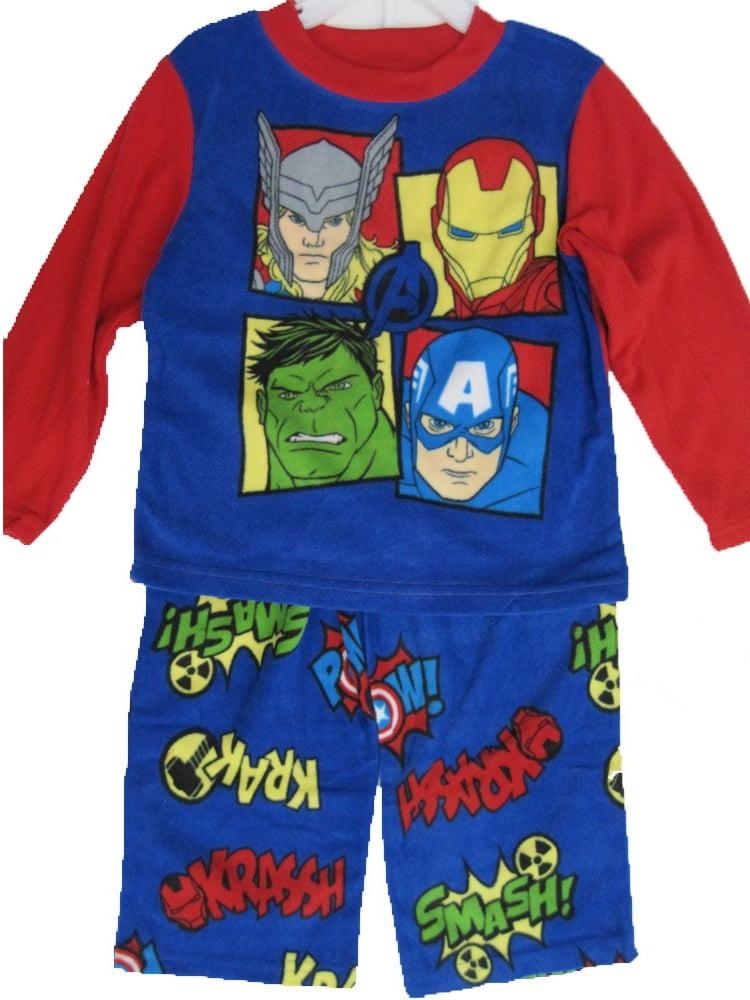 Boys Royal Blue Superheroes Character Print 2 Pc Pajama Set 8-10