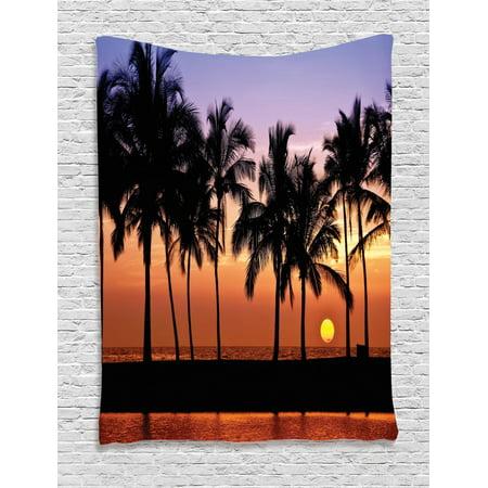 Hawaiian Tapestry, Hawaiian Sunset on Big Island Anaehoomalu Bay Ocean Romantic Resort, Wall Hanging for Bedroom Living Room Dorm Decor, Lilac Dark Orange Black, by Ambesonne