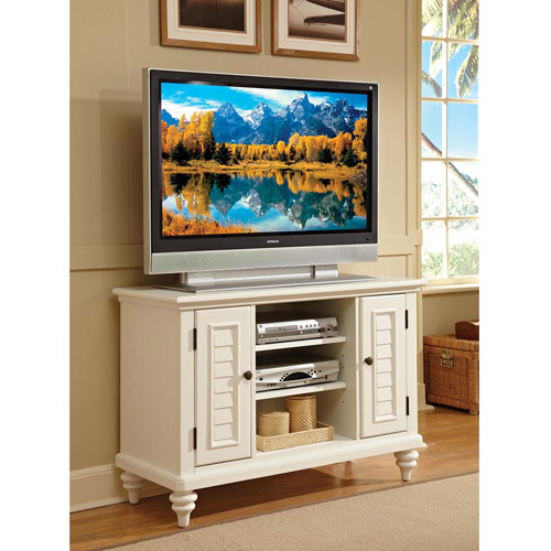 Home Styles Bermuda Brushed White Flat Panel TV Stand, for TV's up to 47""