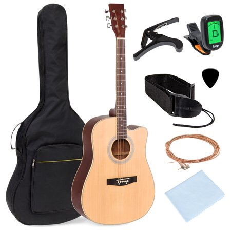 Best Choice Products 41in Full Size Beginner Acoustic Cutaway Guitar Kit with Padded Case, Strap, Capo, Extra Strings, Digital Tuner, Picks (Best Acoustic Metal Covers)