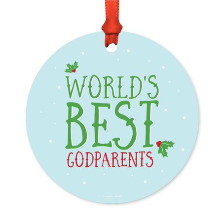 Metal Christmas Ornament, World's Best Godparents, Holiday Mistletoe, Includes Ribbon and Gift