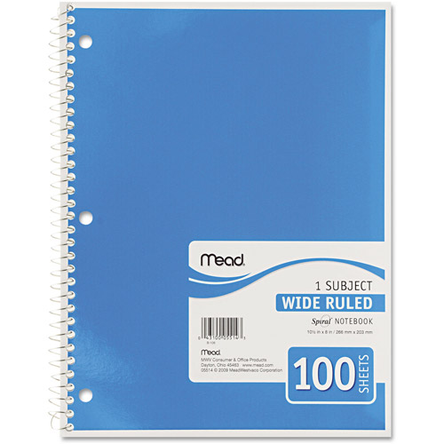Mead Spiral Bound Notebook, Wide Rule, 10-1/2x8, 1 Subject, 100 Sheets, Colors May Vary