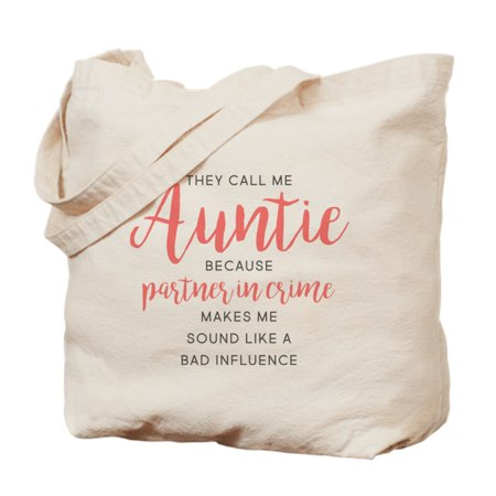 - CafePress - Auntie Partner In Crime - Natural Canvas Tote Bag, Cloth Shopping Bag