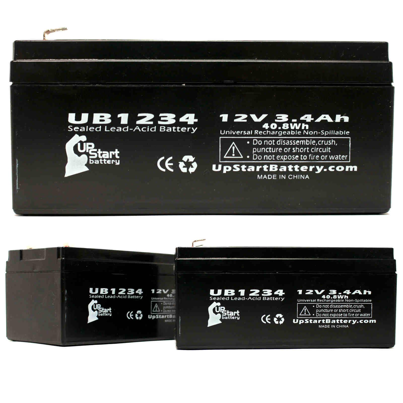 UpStart Battery 3-Pack UB1234 Universal Sealed Lead Acid ...